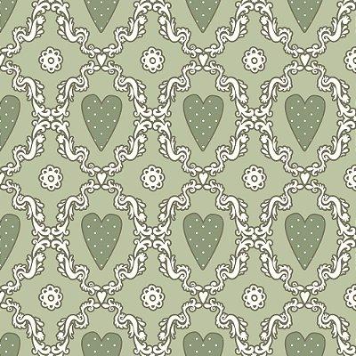 Tecido Tricoline Estampado Coração (Fundo Verde)- Coleção Delicatesse - 50cm x 150cm
