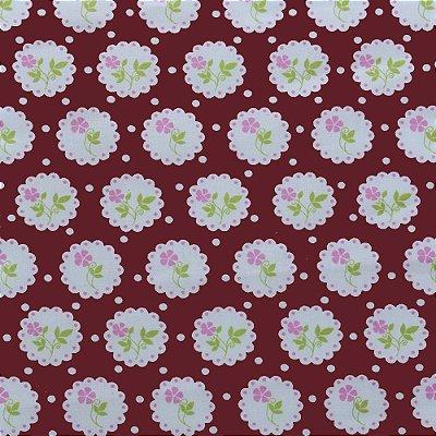 Tecido Tricoline Estampado Floral Delicado no Círculo Vinho - 50cm x 150cm