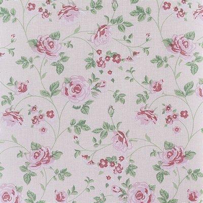 Tecido Tricoline Estampado Rosas Médias Rosa - 50cm x 150cm