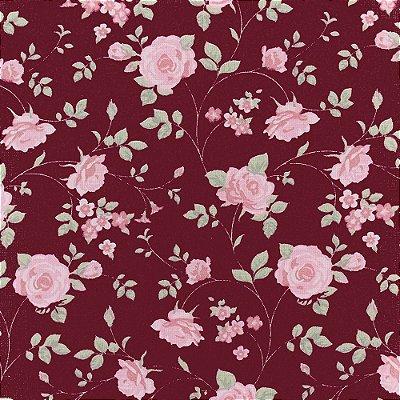 Tecido Tricoline Estampado Rosas Médias Vinho - 50cm x 150cm