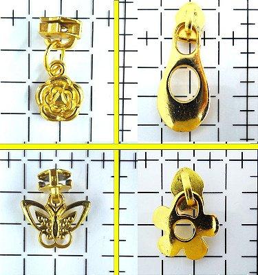 Cursor de Zíper Nº 5 com Pingente de Metal (Revestimento Dourado)