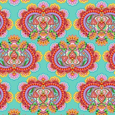 Tecido Digital - Floral Juliana (Fundo Tiffany) - 50cm x 150cm