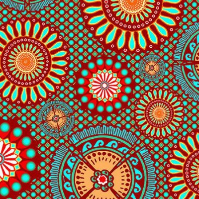 Tecido Digital - Mandala Indiana Tiffany  - 50cm x 150cm