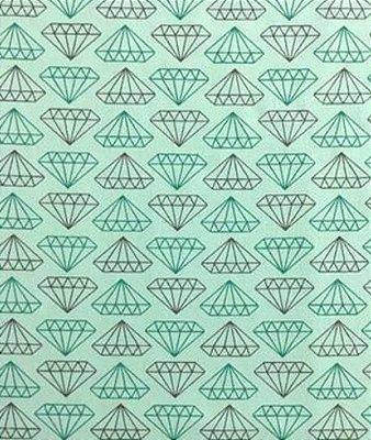 Tecido Tricoline Estampado Diamante Tiffany e Cinza (Fundo Tiffany) - 50cm x 150cm