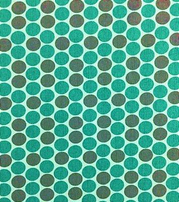 Tecido Tricoline Estampado Bola (Fundo Tiffany) - Preço de 50cm x 150cm