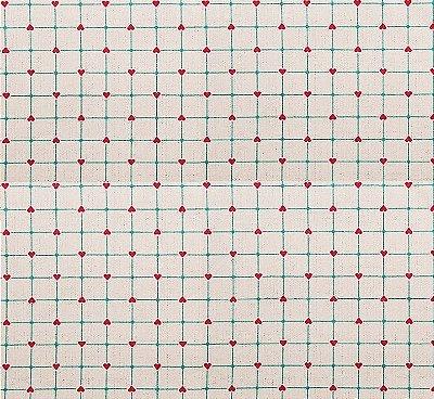 Tecido Tricoline Estampado Cerca de Corações Rosa e Tiffany (Fundo Cru) - 50cm x 150cm