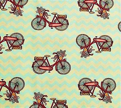 Tecido Tricoline Estampa de Bicicleta Vinho (Fundo Chevron Verde e Bege) - 55 cm X 150 cm