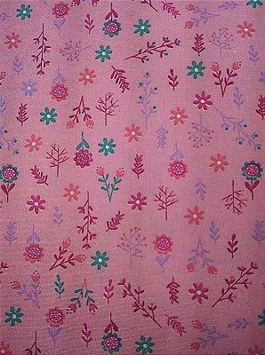Tecido Tricoline Infantil do Unicórnio Floral (Fundo Rosa) - 50 cm X 150 cm