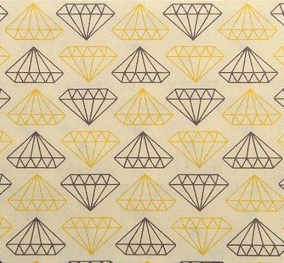 Tecido Tricoline Estampado Diamante Amarelo e Cinza (Fundo Creme) - 50cm x 150cm