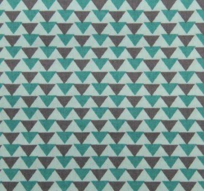 Tecido Tricoline Estampa Triângulos Cinza e Tiffany (Fundo Tiffany) - 50 cm x 150 cm