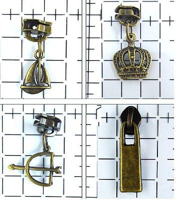 Cursor Nº 5 para Zíper com Pingente de Metal - (Revestimento Ouro Velho)