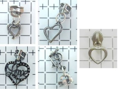Cursor e Pingente de Metal para Ziper - nº 5 - Prateado