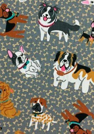 Tecido Tricoline Estampa de Cachorros - Coleção I Love My Dog - Corte Mínimo 50cm x 150cm