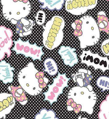 Tecido Tricoline Hello Kitty Pop Art Balloon- Poá Branco E Fundo Preto - Corte Mínimo 50cm x 150cm