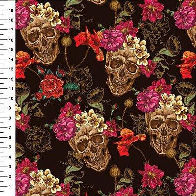 Tecido Digital Caveira Floral - Fundo Preto - Preço de 50cm x 150cm