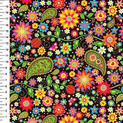 Tecido Digital Cashmere e Floral Colorido - Fundo Preto - Corte Mínimo 50cm x 150cm