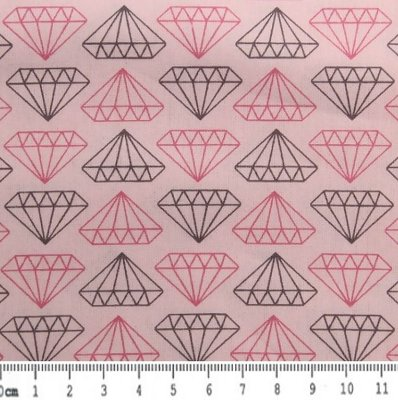Tecido Tricoline Estampado Diamante Rosa e Cinza (Fundo Creme) - 50cm x 150cm