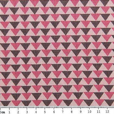 Tecido Tricoline Estampa Triângulos Cinza e Rosa  (Fundo Rosa) - 50 cm x 150 cm
