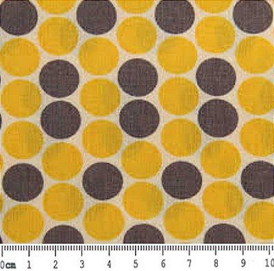 Tecido Tricoline Estampado Bola Cinza e Amarelo - 50cm x 150cm