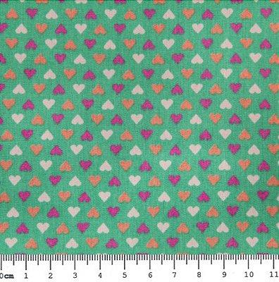 Tecido Tricoline Estampa de Corações Coloridos (Fundo Tiffany) - 50cm x 150cm