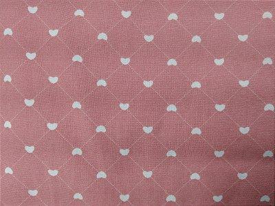 Tecido Tricoline Estampa de Cerca Corações  (Fundo Rosa) - 50cm x 150cm