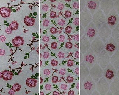Tecido Tricoline de Rosas Grandes, Mini Rosas e Cerquinha de Rosas - (Fundo Creme) - Corte Mínimo de 50 cm x 150cm