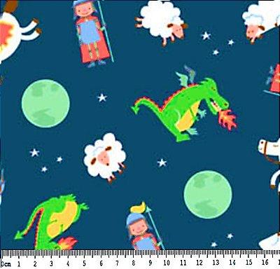 Tecido Tricoline Estampa Dragão, Ovelha, Cavalo, Lua e Soldado - Fundo Marinho - Preço de 50cm x 150cm