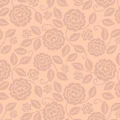 Tecido Tricoline Estampa Rosas Sombreadas - Fundo Rosa Antigo - Corte Mínimo de 50cm x 150cm