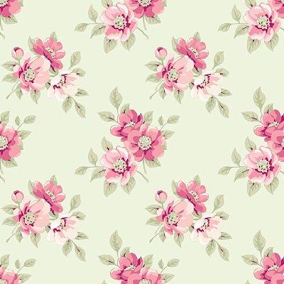 Tecido Tricoline Estampa Jardim de Flores Rosé - Fundo Creme - Coleção Jardim das Flores - Corte Mínimo de 50cm x 150cm