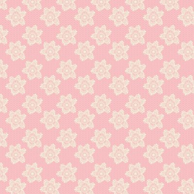 Tecido Tricoline Estampa Flores Rendadas - Fundo Rosé - Coleção Jardim das Flores - Corte Mínimo de 50cm x 150cm