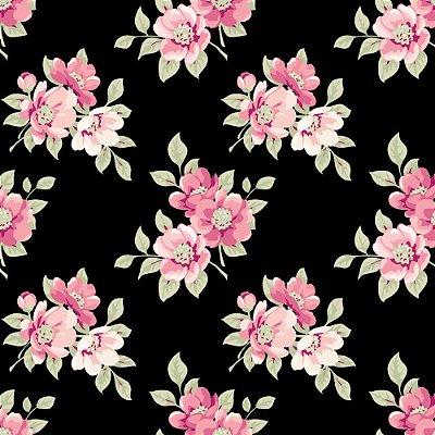 Tecido Tricoline Estampa Jardim de Flores Rosé - Fundo Preto - Coleção Jardim das Flores - Corte Mínimo de 50cm x 150cm