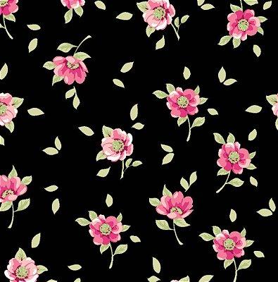 Tecido Tricoline Estampa Jardim de Mini Flores Rosé - Fundo Preto - Coleção Jardim das Flores - Corte Mínimo de 50cm x 150cm