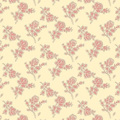 Tecido Tricoline Estampa Rosinhas com Contorno Rosé- Fundo Creme - Coleção Jardim das Flores - Corte Mínimo de 50cm x 150cm