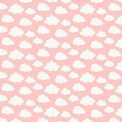 Tecido Tricoline Estampa Nuvem - Fundo Rosa - Coleção Irmãos Corujas - Preço de 50 cm x 150cm
