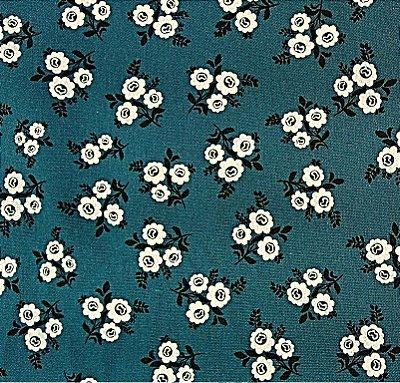 Tecido Tricoline Estampado Floral - Rosinhas (Fundo Azul Petróleo) - Corte Mínimo 50 cm x 150 cm