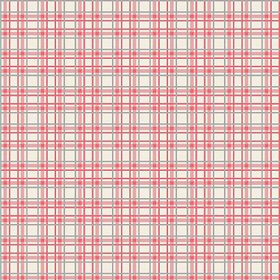 Tecido Tricoline Estampa Xadrez Rosa e Cinza - Fundo Creme - Coleção Irmãos Corujas - Corte Mínimo de 50 cm x 150cm