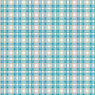 Tecido Tricoline Estampa Xadrez Azul e Cinza - Fundo Creme - Coleção Irmãos Corujas - Corte Mínimo de 50 cm x 150cm