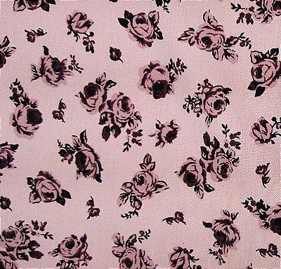 Tecido Tricoline Estampado Floral - Rose Blush (Fundo Rosa) - Corte Mínimo 50 cm x 150 cm