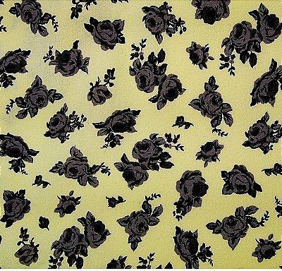 Tecido Tricoline Estampa Floral (Fundo Amarelo Claro) - Corte Mínimo 50 cm x 150 cm