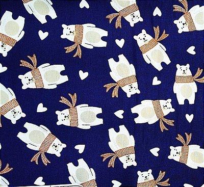 Tecido Tricoline Estampa de Urso (Fundo Marinho) - Corte Mínimo 50 cm x 150 cm