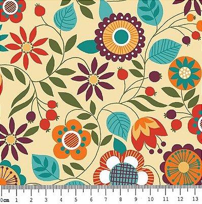 Tecido Tricoline Floral da Coleção Bohêmia (Fundo Creme) - Corte Mínimo de 50 cm x 150 cm