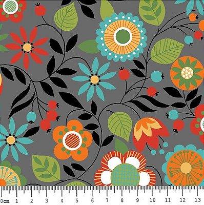 Tecido Tricoline Floral da Coleção Bohêmia (Fundo Cinza) - Corte Mínimo de 50 cm x 150 cm