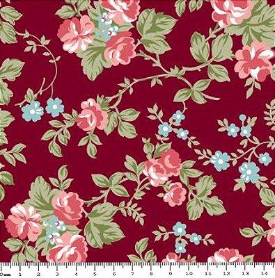 Tecido Tricoline Floral - Fundo Vinho - Coleção C'este La Vie - 50cm x 150cm