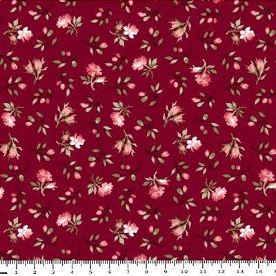 Tecido Tricoline Estampado Mini Floral (Fundo Vinho) - Coleção C'est La Vie - Preço de 50cm x 150cm