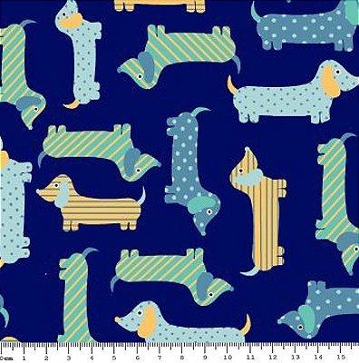 Tecido Tricoline Estampa Infantil de Cachorros Amarelo, Azul e Verde (Fundo Marinho) - Coleção Cachorrinho Au Au - 50 cm X 150 cm