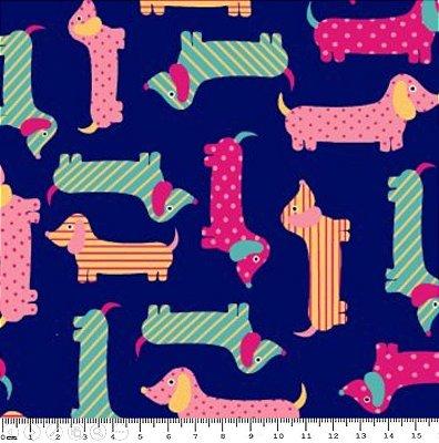 Tecido Tricoline Estampa Infantil de Cachorros Amarelo, Rosa e Verde (Fundo Marinho) - Coleção Cachorrinho Au Au - 50 cm X 150 cm