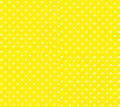 Tecido Tricoline Estampa Poá Branco com Fundo Amarelo - Preço de 50cm x 150cm