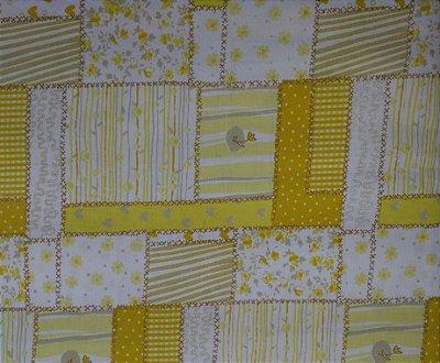 Tecido Tricoline Mista Multi Estampas Patchwork Amarelo - 50 cm x 150 cm (80% algodão e 20% poliéster)