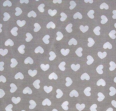 Tecido Tricoline Estampa Coração (Fundo Cinza) - Corte Mínimo de 50 cm x 150 cm