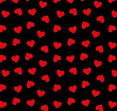 Tecido Tricoline Estampa Coração Vermelho (Fundo Preto) - Corte Mínimo de 50 cm x 150 cm
